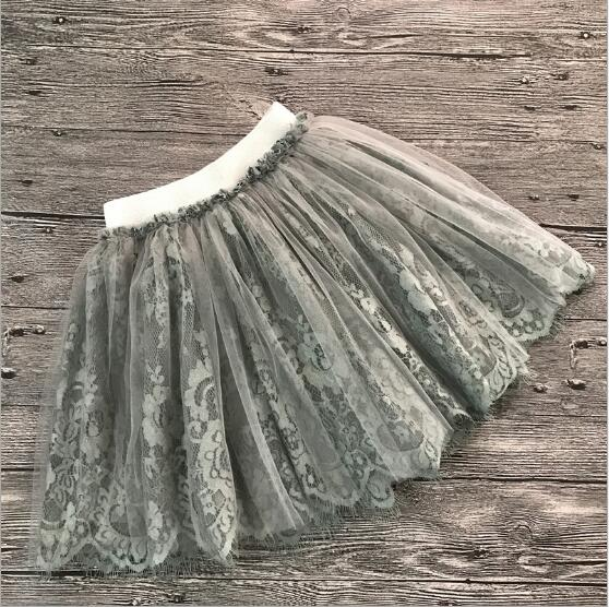 Girl Summer Skirt  2018 Girls Fashion Summer New Grey White  Lace Tulle Tutu Skirts children princess clothing