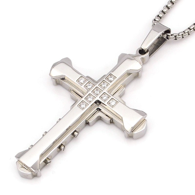NIENDO Fashion Silver Color Stainless Steel Cross Pendant Necklace Charm Men Jewelry Punk Farewell Gift Rhinestone