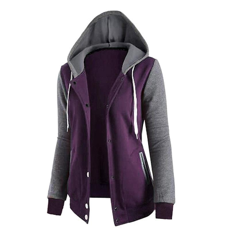Women   Basic     Jacket   Casual Winter And Autumn Fashion Patchwork Long-sleeve Sweatshirt Leisure Female Outerwear Clothing WS952Y