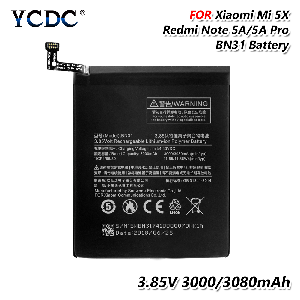 Phone Rechargeable Battery BN31 BN 31 BN 31 3 85V 3080mAh Replacement Battery For Xiaomi Mi