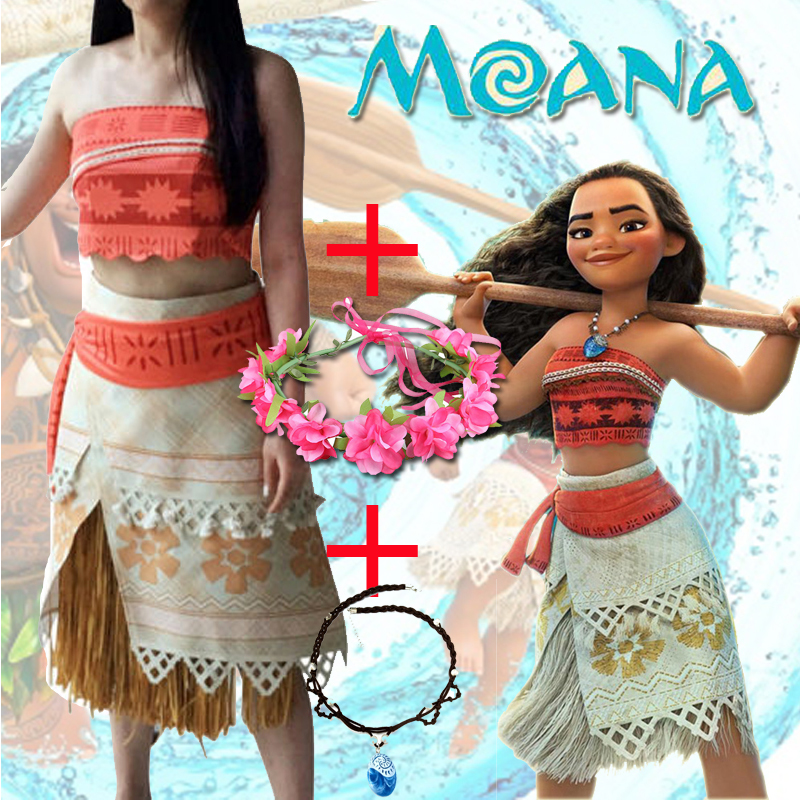 Adult/child Moana Costume Movie Cosplay Princess Party Corset Skirt Belt Custom Made