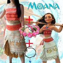 Yetişkin/çocuk Moana kostüm film Cosplay prenses parti korse etek kemer Custom Made
