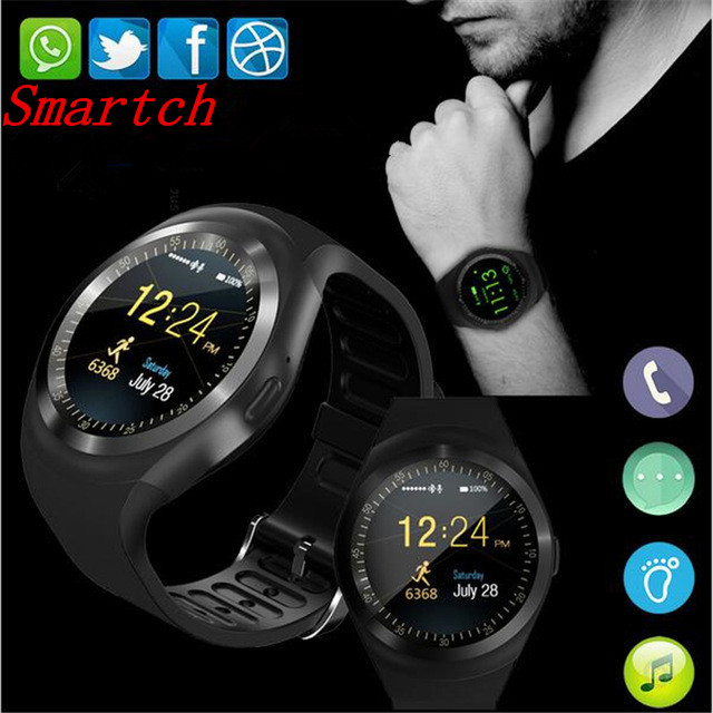 Smartch Y1 Smart Watch Round Support Nano SIM &TF Card With Whatsapp And Facebook Men Women Business Smartwatch For IOS Android meanit m5