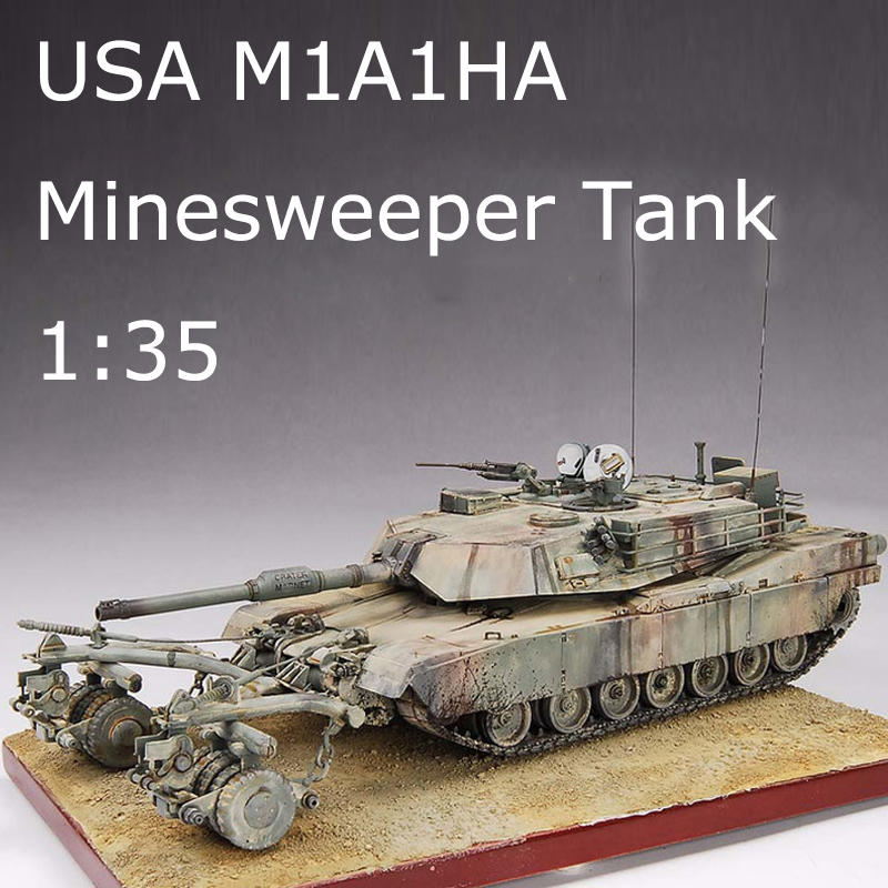 1 35 United States M1A1HA Minesweeper Tank With Mine Roller Set Contain Motor Plastic Assembly Military