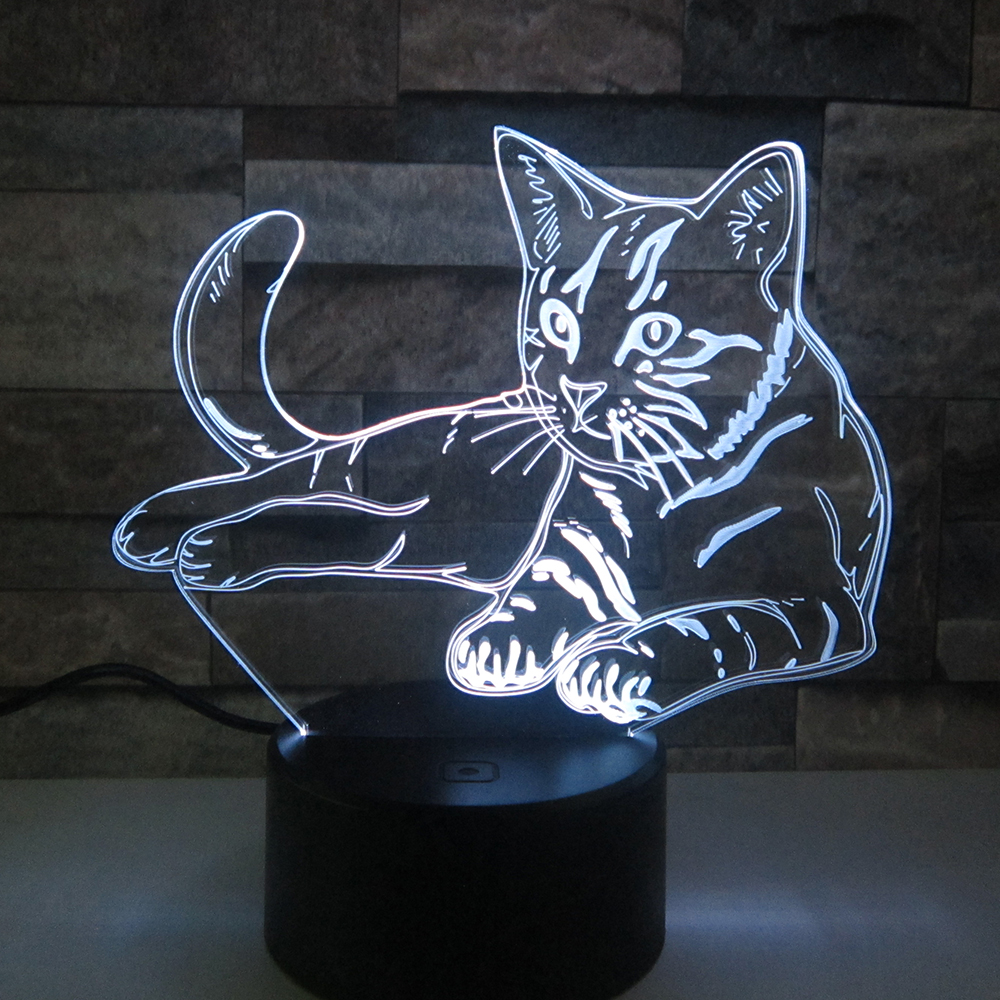 Lovely Cat 3D Night LightRemote Touch Swith LED Animal 3D Lamp 7 Colors USB 3D Illusion Desk Lamp Home Decor As Kids Toy Gift 3d лампа 3d lamp акула