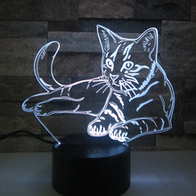 Lovely Cat 3D Night LightRemote Touch Swith LED Animal 3D Lamp 7 Colors USB 3D Illusion Desk Lamp Home Decor As Kids Toy Gift
