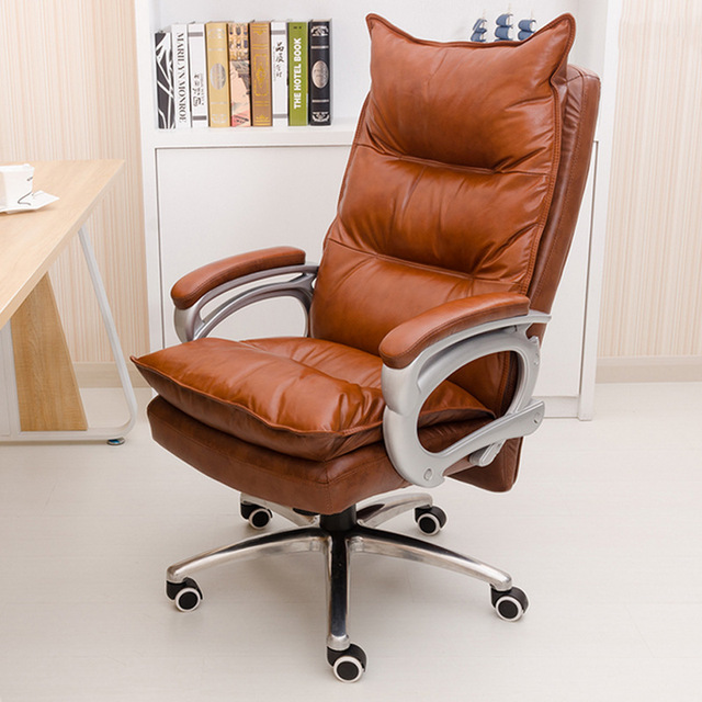 Genuine leather Luxurious and comfortable Home office chair ...