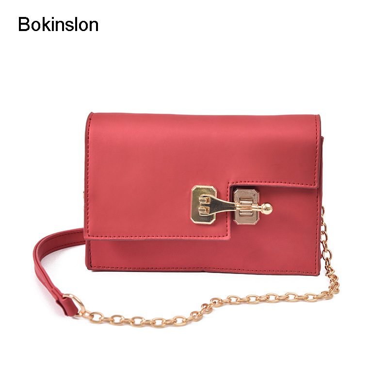 Bokinslon Small Shoulder Bags For Woman Individuality Lock Buckle Girls Chain Bags PU Leather Fashion Women Popular Crossbody Ba