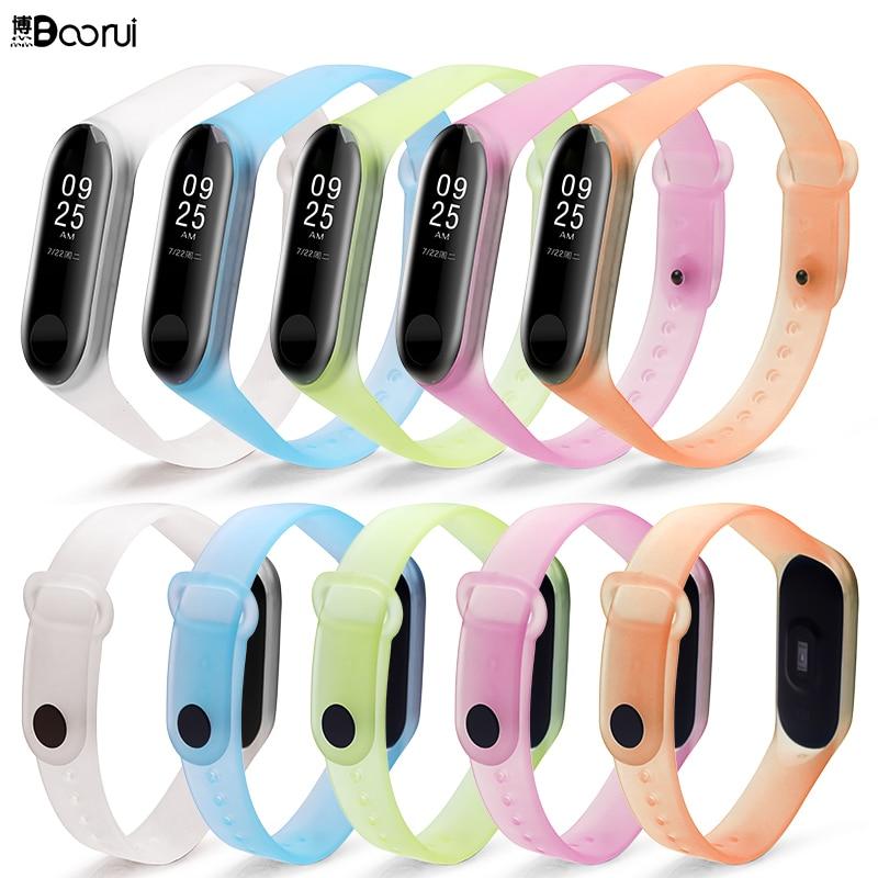 BOORUI Transparent Miband 3 Strap Sports Colorful Silicone  Wrist Strap For Xiaomi Mi 3 Smart Bracelets Mi Band 3 Accessories