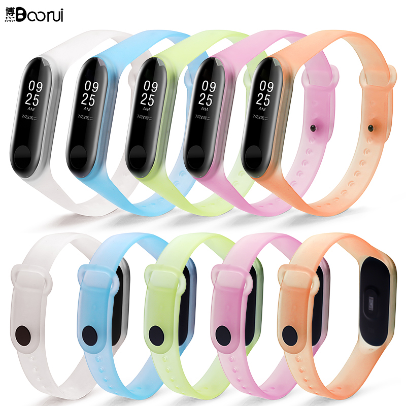 BOORUI Transparent miband 3 strap sports colorful silicone  wrist strap for xiaomi mi 3 smart bracelets mi band 3 accessories