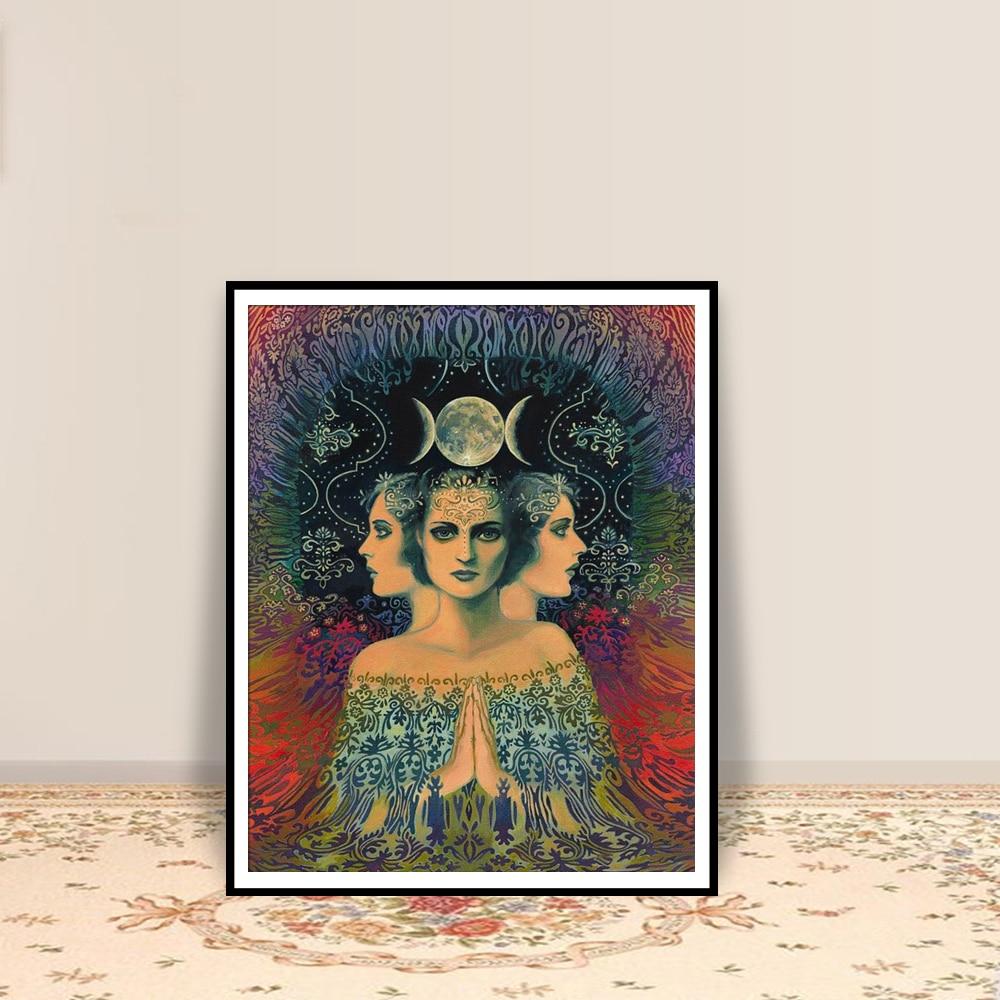 Постер Лунная богиня тайны психоделический Таро печать богемское цыганское Искусство Декор для дома постеры и принты