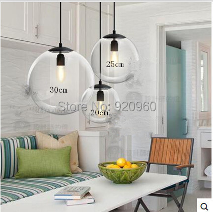 Modern Glass Ball Pendant Light Continental Restaurant Bar American Country Fashion Creative Lamps - DGY Indoor Lighting store