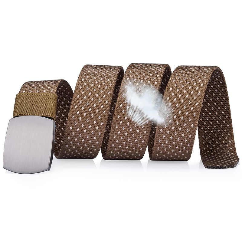 Dinisiton Pria Kanvas Sabuk Taktis Nilon Sabuk Fashion Stripe Tali Jeans Man Top Brand Leisure Luxury Logam Sabuk Gesper CM05