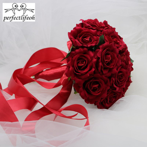 Image 4 - perfectlifeoh Hot Red Wedding Bouquet Bridal Bouquet Wedding Decoration Foamflowers Rose Bridal Bouquet