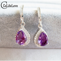 Luxurious Amethyst Dangle Earring Natural Amethyst Drop Earrings Solid 925 Silver Amethyst Earring Flawless Crystal Earrings