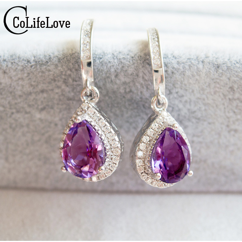 Luxurious amethyst dangle earring natural amethyst drop earrings solid 925 silver amethyst earring flawless crystal earrings цена 2017