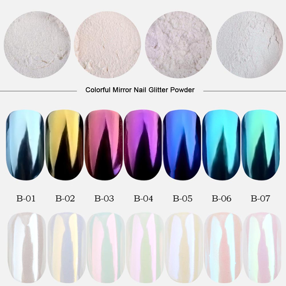 0.5g Mirror Nail Glitter Powder Fashion Nail Art Decorations Shimmer Gold Blue Purple Colorful Dust Nail Chrome Pigment TRB01-07