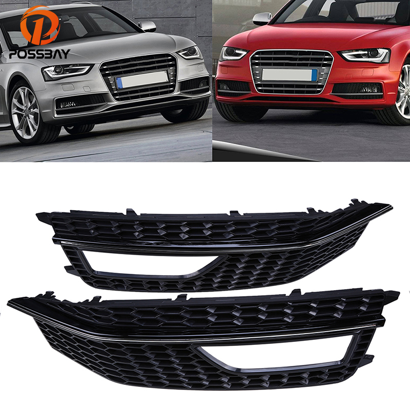 POSSBAY Car Front Bumper Lower Grille Fog Light Cover Fit for Audi A4 B8 2012-2015 Facelift Mesh Grilles Auto Side Accessories fog light grill for audi a4 s line s4 2013 2014 2015 front bumper grille foglamp cover left