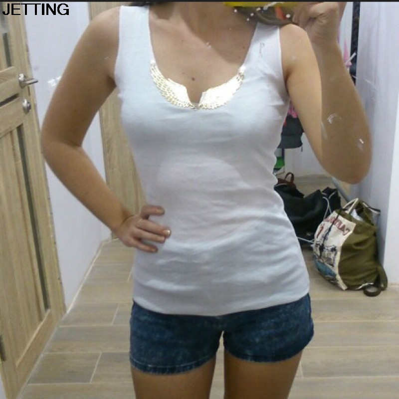 2017 High Quality Black Grey White Summer Tank Tops Women Metal Wings Sequined Sleeveless Camis Solid Women Clothes