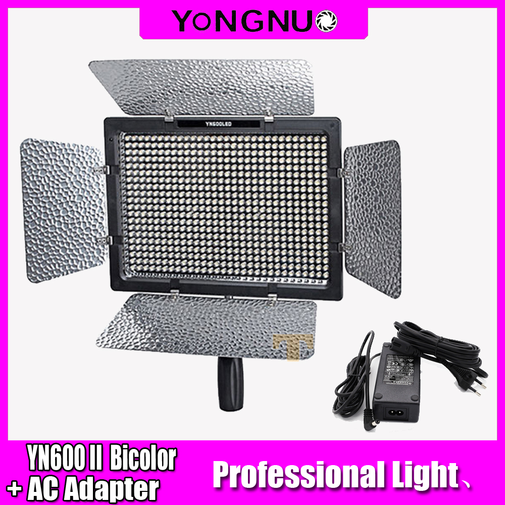 Yongnuo YN600 II YN600L II LED Video Light Single color or Bicolor Dimmable with AC Adapter Remote Control by Phone App for DSLR
