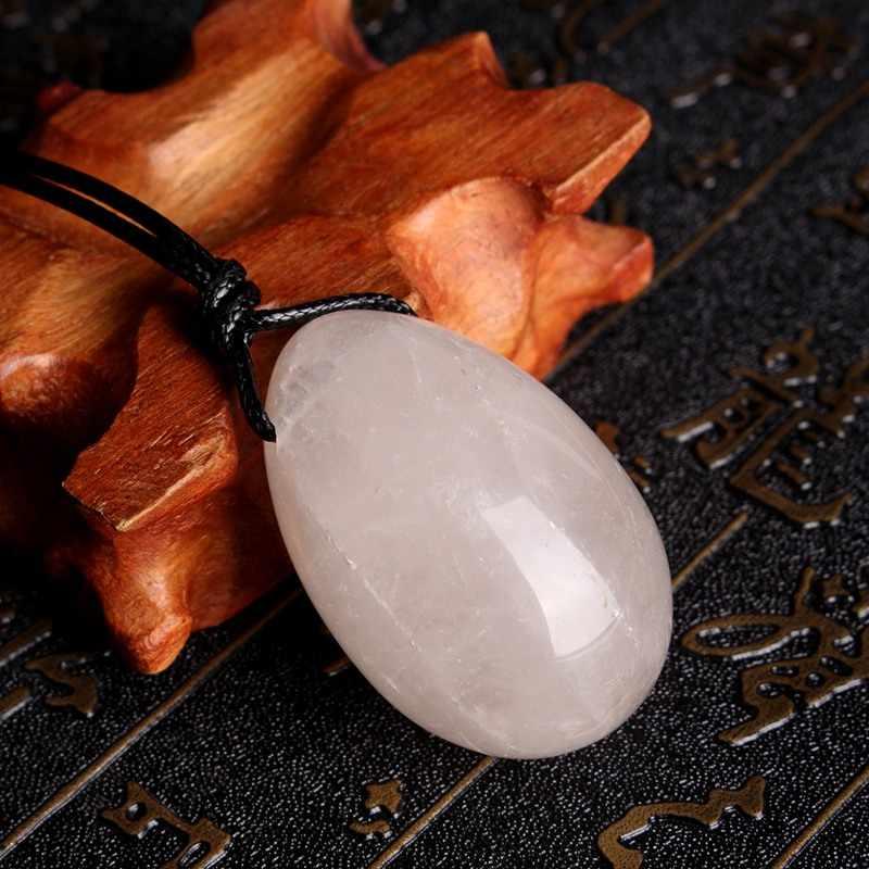 Exquis 3 pièces/ensemble blanc percé naturel roche Quart cristal Yoni oeufs pierre gemme guérison Jade oeuf Massage outil pendentif artisanat cadeau
