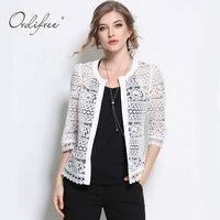 Ordifree 2017 Plus Size Wome Clothing 5XL Ladies White Lace Blouse Summer Cardigan Coat Black Crochet