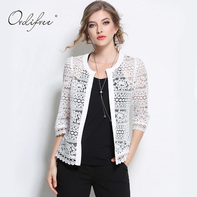 2019 Плюс розмір Wome одягу 5XL 4XL XXXL Дами Біла мережива блузка Літній Кардиган Пальто Чорний гачком Сексуальна жіноча сорочка блузка