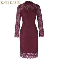 Wine Red Women Casual Autumn Evening Dresses 2017 Sexy See Through Lace Evening Gowns Long Sleeve