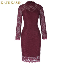Kate Kasin Lace Short Evening Dresses 2017 Wine Red Long Sleeve Mother of the Bride Dresses Slim Line Bodycon Party Prom Gown