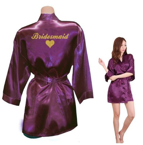 Bridesmaid Robes Bridesmaid Heart Golden Glitter Print Faux Silk Kimono Robes Wedding Gift Bride Team Bachelorette Love