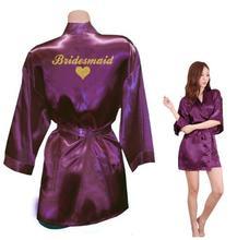 Bridesmaid Robes Bridesmaid Heart Golden Glitter Print Faux Silk Kimono Robes Wedding Gift Bride Team Bachelorette Love
