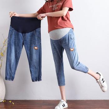 Jeansy ciążowe kobiety w ciąży luźne 7 punktów spodnie ciążowe elastyczny pas spodnie jeansowe ubrania ciążowe 2019 nowy tanie i dobre opinie Macierzyństwo WOMEN COTTON spandex Denim Natural color yuanjiaxin