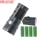 King 7t6 Torch LED flashlight 10000 lumens 7xT6 lamp lights 7 XM-L T6 18650 Flash light + 4x 18650 +charger
