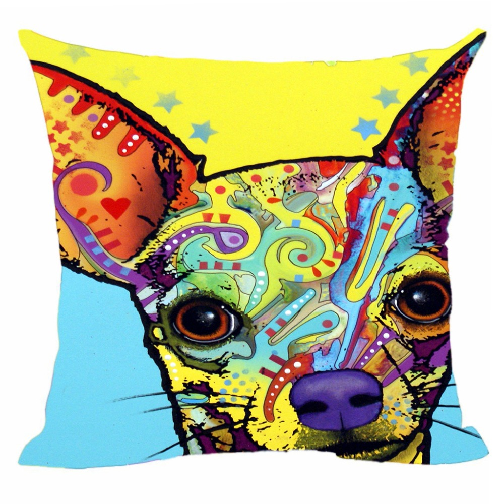 Colorful Art Painting Chihuahua Cushion Cover Cute Dogs Cats Pillow Cover Collie Shepherd Pillow Case Almofadas Home Sofa Decor