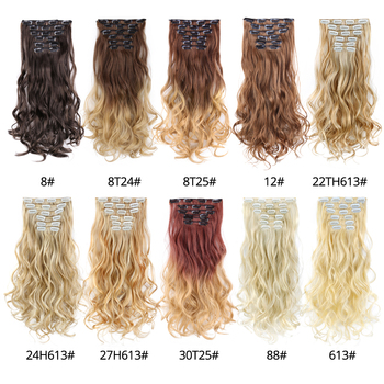 Leeons 22 Inch High Temperature Fiber Curly Synthetic 16 Clips In Hair Extensions For Women Hairpieces Ombre Brown Hair pieces 5