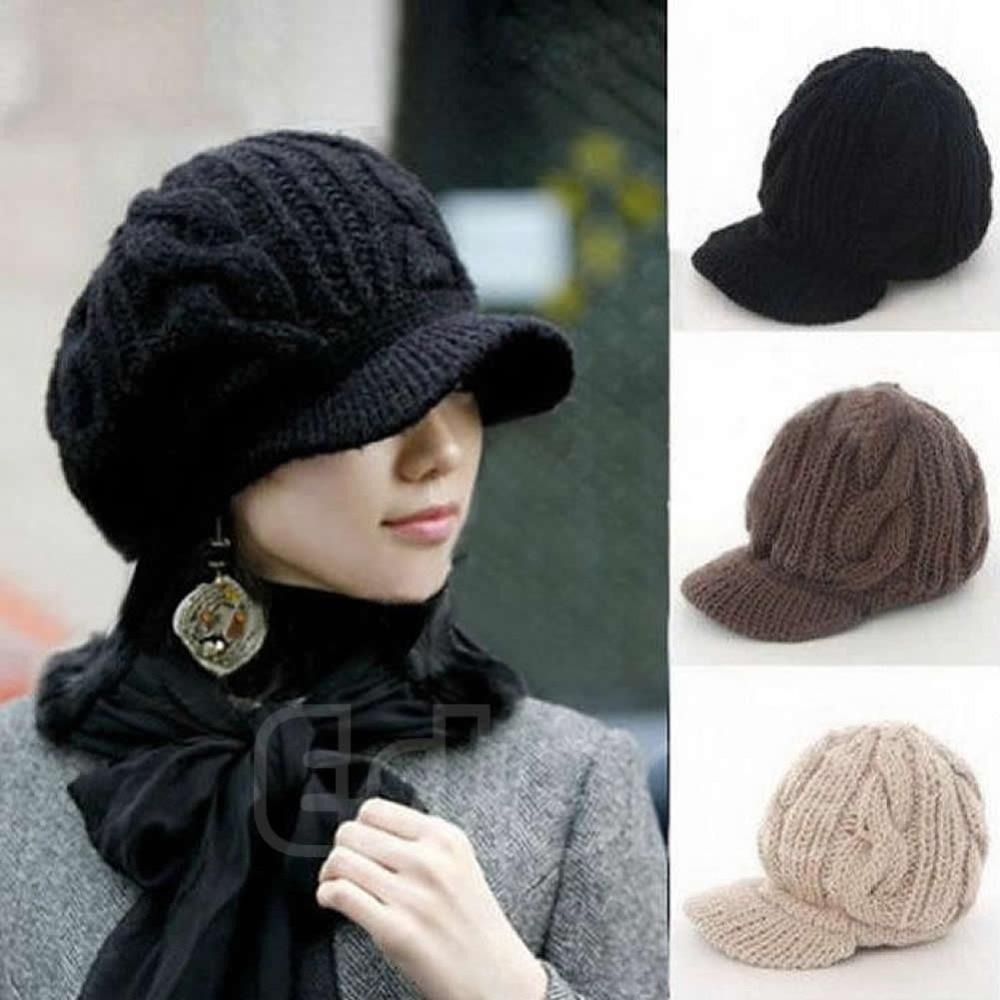 1PC Hot Fashion Korean Women Crochet Beanie Winter Warm Wool Knit Peaked Hat Cap hot winter beanie knit crochet ski hat plicate baggy oversized slouch unisex cap