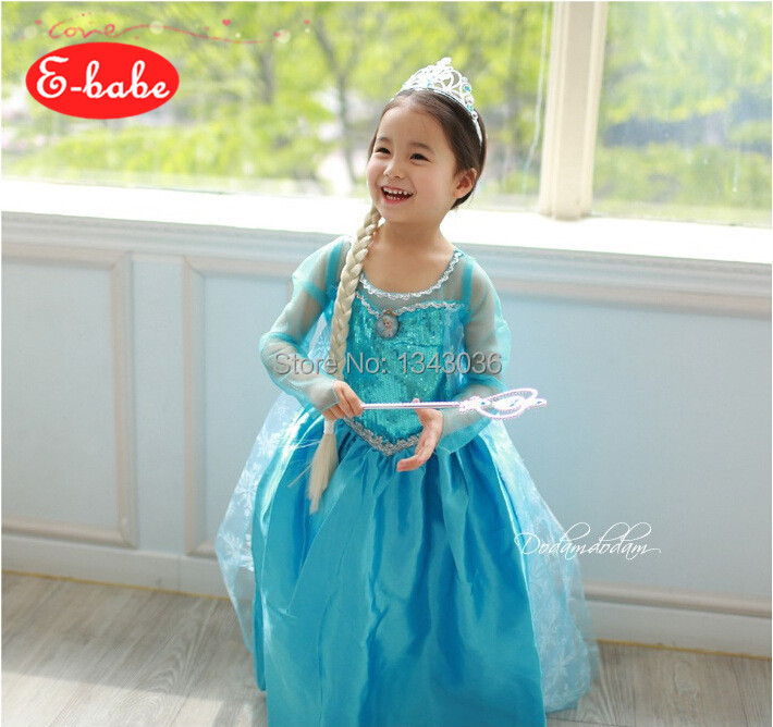 E babe Wholesale F rozen Princess Summer Elsa Blue Dress Baby Girls Cosplay Costume Kids