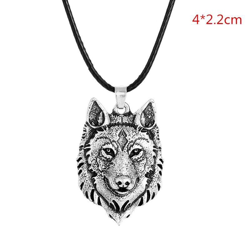 1Pc Creative Tibetan Silver Wolf Head Pendant Necklace Amulet Animal Fashion Men Gifts Jewelry