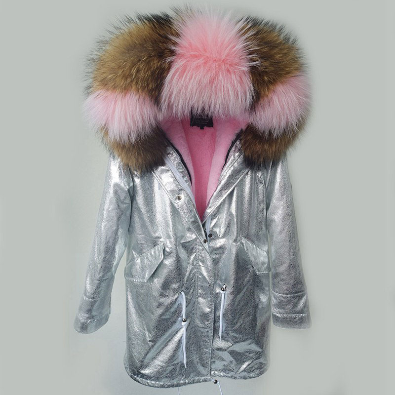 Hot Sale 2017 New Arrival Women Winter Fashion Casual Plus Size Big Real Raccoon Fur Collar Jackets Coats Female Silver Jackets 2017 hot sale new arrival magnetize for screwdriver plus porcelain degaussing minus disassemble charge sheet hand tool parts