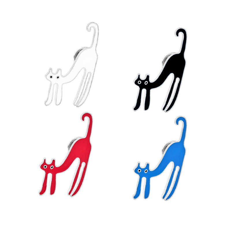 Carino blu nero rosso bianco gatto pins e spille semplice smalto spilla monili per le ragazze figlia dei bambini