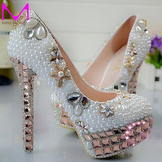 2c072d3adb2b 2016 New Arrival Pretty Wedding Shoes White Bridal Dress Shoes 14cm Super Heel  Gorgeous Shoes Rhinestone Party Prom Dress Shoes
