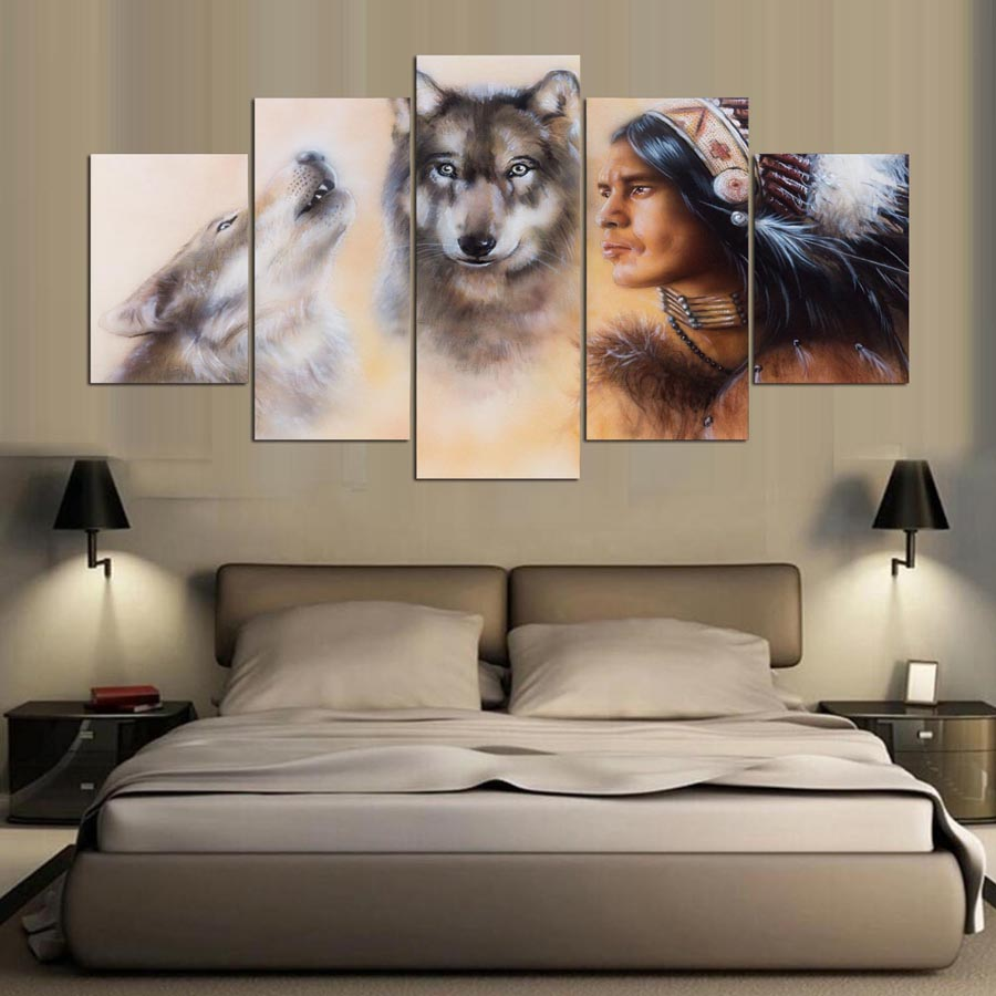 5d full spuare round living room 5 Panel Wolf And Indians 5d diamond painting 5d diamond