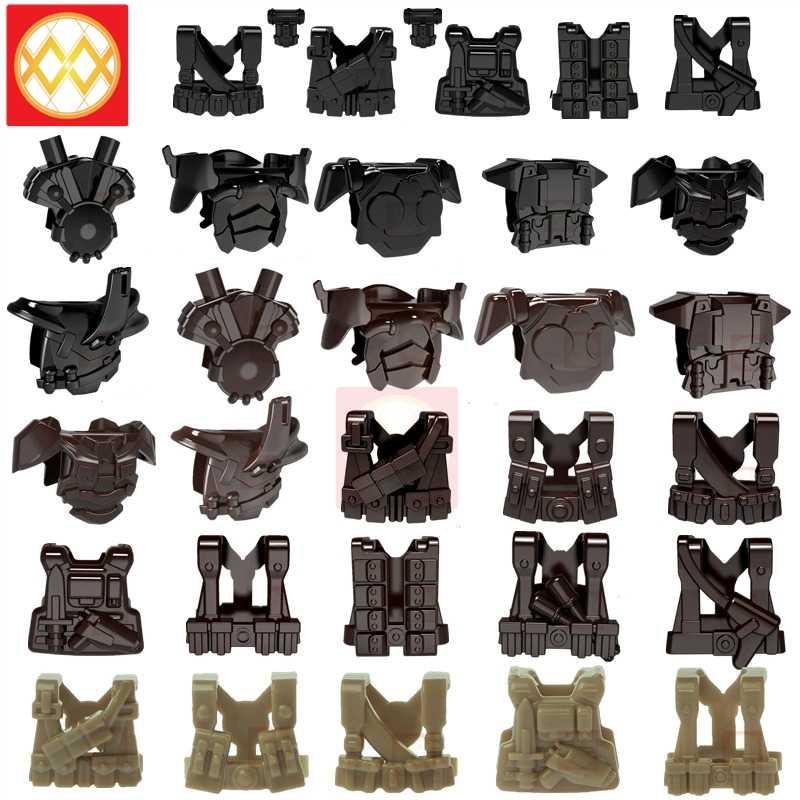 10 piezas WW2 MOC soldado Gunner chaleco militar Swat bloques de construcción ladrillos Reino Unido Ejército alemán armadura parte ladrillos regalos juguetes para los niños