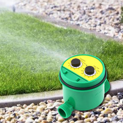 Two Dial Home Water Timer Garden Irrigation Controller 1-16 Set Programs
