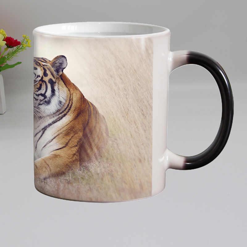 Darmowa wysyłka śmieszne nowość zwierząt tygrys ceramiczny kolor zmiana kubki kawy magiczna herbata kubek kubek super prezent