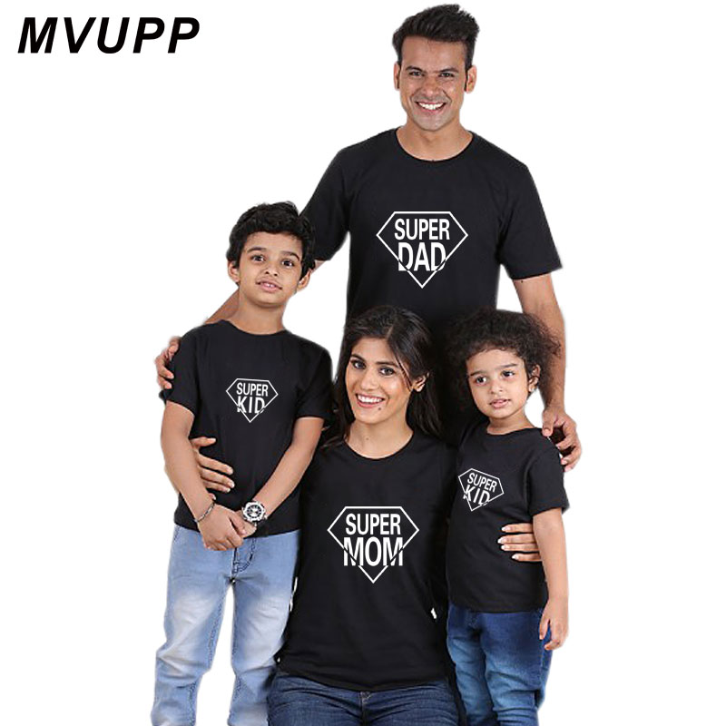 e2961698 super dad mom kid for family outfits matching clothes t shirt father mother  daughter son daddy look mommy and me baby dress cute-in Matching Family  Outfits ...