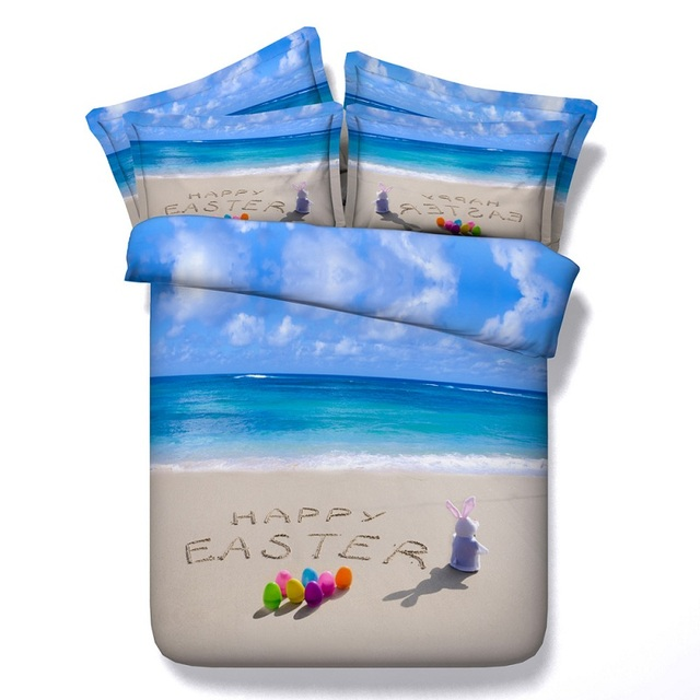 3D Beach Bedding set duvet cover Queen size California King twin bed in a bag sheets bedspreads linen bedsheet sea easter 4PCS