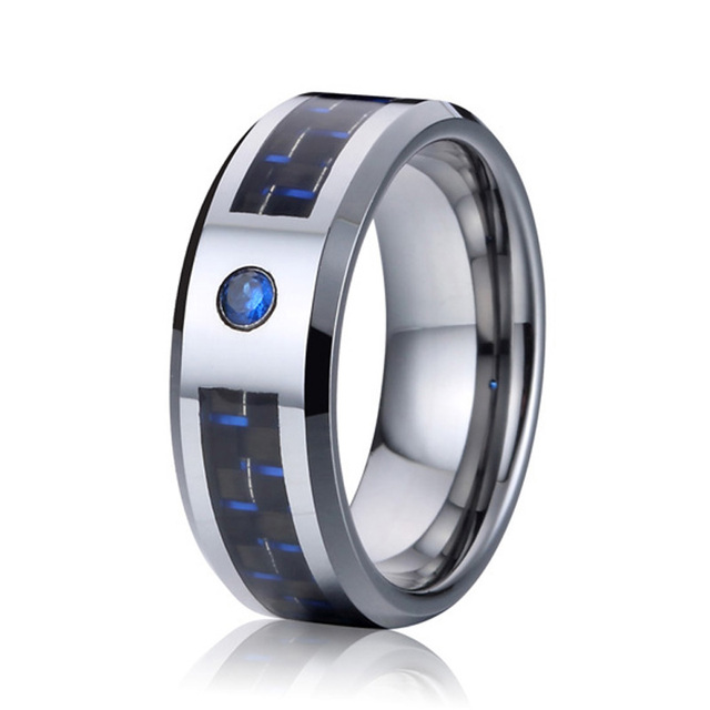 Unique Tungsten Ring Men Wedding Band Blue Cz Stone Jewelry Anillos Fashion Jewellery Can Touch Water
