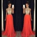 Longo Coral Vestidos de Baile 2017 Halter Frisado Vestidos de Noite Vestido de Festa Barato Sexy Keyhole Chiffon A Linha de Trem Da Varredura Vestidos