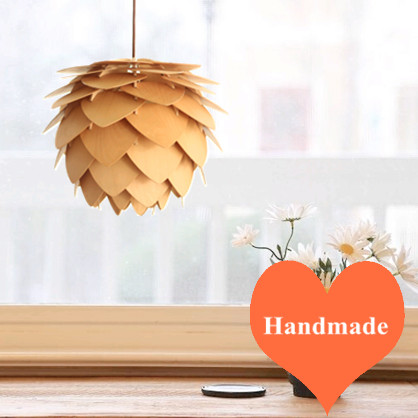 Novelty art pineal design ply-wood chips pendant lights Handmade indoor E27 LED hanging lamp for stairs&corridor&porch BT122-450 2016 creative novelty blue shade ply wood chips chandelier e27 led floral lamp indoor lamp for stairs